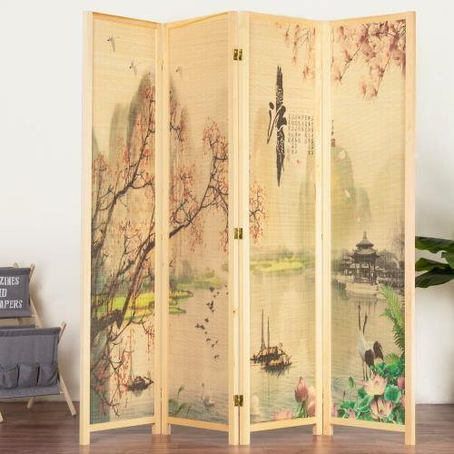 4-Panel Asian-Inspired Bamboo Room Divider, Cherry Blossom - MyGift