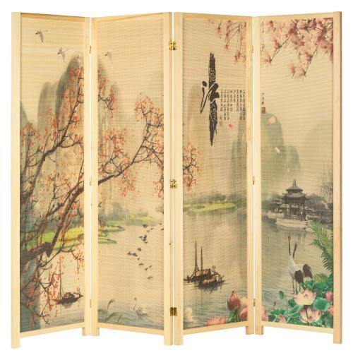 4-Panel Asian-Inspired Bamboo Room Divider, Cherry Blossom