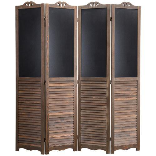 4-Panel Wood Room Divider with Chalkboard Panels - MyGift