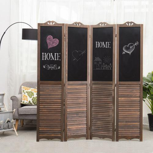 4-Panel Wood Room Divider with Chalkboard Panels