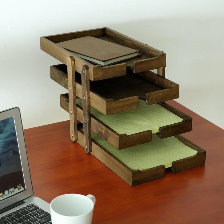 4 Tier Expandable Vintage Wood Document Tray Organizer, Brown - MyGift Enterprise LLC