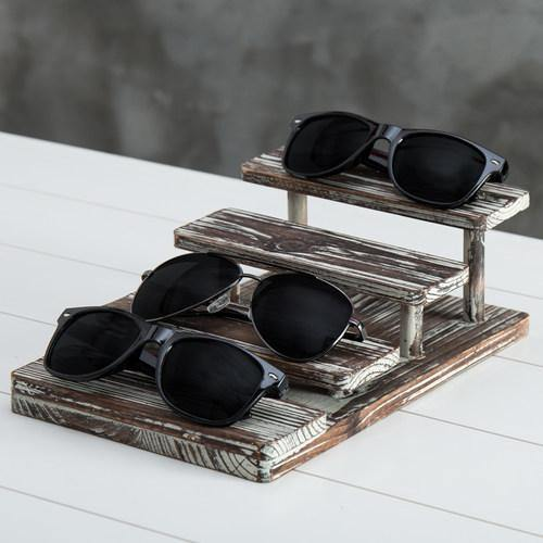 4-Tier Rustic Torched Wood Sunglasses Display Stand