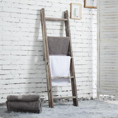 4.5-Foot Ladder-Style Torched Wood Blanket Rack