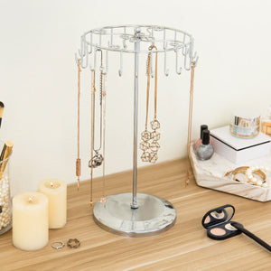 Rotating Silver-Tone Necklace Holder Bracelet Stand