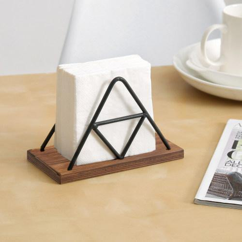 Triangle Design Metal Wire & Brown Wood Napkin Holder