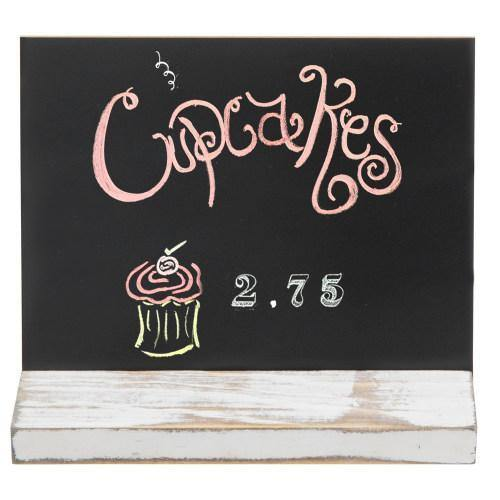 5 x 6 Inch Mini Tabletop Chalkboard Signs with Whitewashed Wood Base, Set of 4 - MyGift