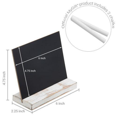 5 x 6 Inch Mini Tabletop Chalkboard Signs with Whitewashed Wood Base, Set of 4