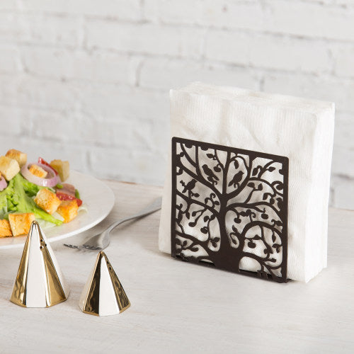 Brown Metal Tree & Bird Design Napkin Holder