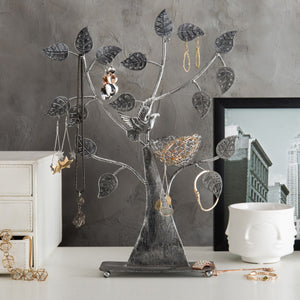 Silver Metal Tabletop Jewelry Tree with Bird Nest
