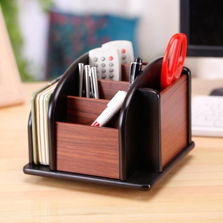6-Compartment Wood Rotating Remote Caddy / Desktop Office Supply Organizer - MyGift Enterprise LLC