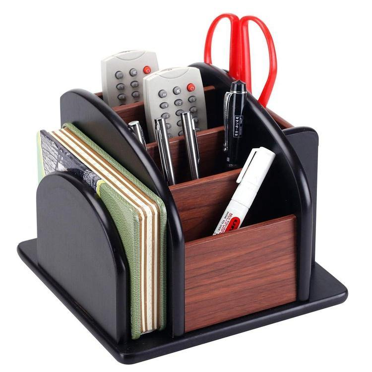 Wood Rotating Remote/Office Supply Organizer
