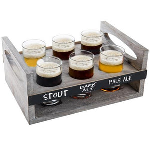MyGift 6-Glass Craft Beer Tasting Flight Set with Rustic Wood Serving Caddy - MyGift Enterprise LLC