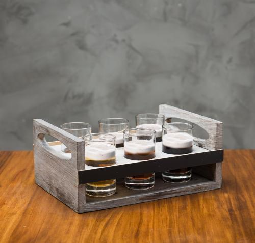 6-Glass Craft Beer Tasting Flight Set with Rustic Wood Carrier