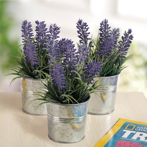 6-inch Artificial Lavender Plant with Metal Pot, Set of 3