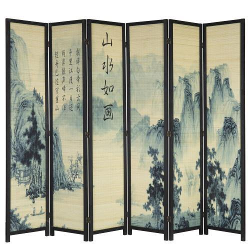 6-Panel Bamboo Room Divider with Asian Calligraphy Artwork - MyGift