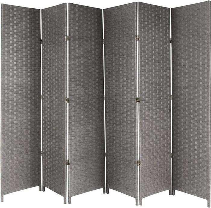 6-Panel Gray Woven Seagrass Room Divider