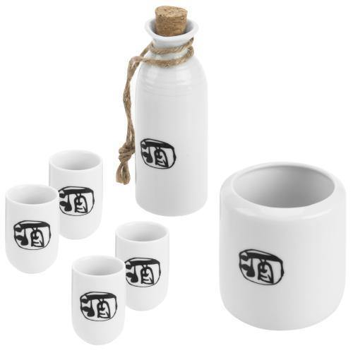 6-Piece Japanese Style Ceramic Sake Set with Wine Character - MyGift