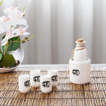 6-Piece Japanese Style Ceramic Sake Set with Wine Character