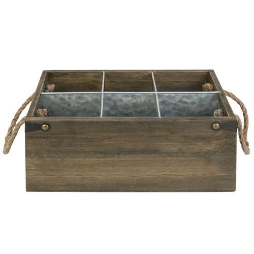 6-Slot Barnwood & Galvanized Metal Wine/Beer Bottle Crate with Handles - MyGift
