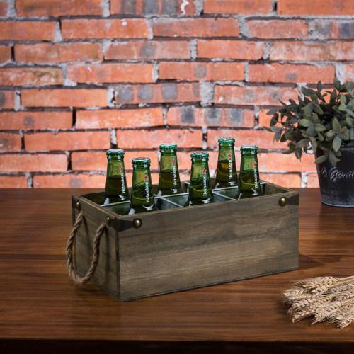 6-Slot Barnwood & Galvanized Metal Wine/Beer Bottle Crate with Handles