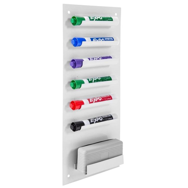 6-Slot Wall Mounted Metal Dry Erase Marker and Eraser Holder, White - MyGift Enterprise LLC