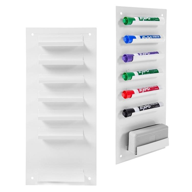 6-Slot Wall Mounted Metal Dry Erase Marker and Eraser Holder / Vertical Storage System, White (Set of 2) - MyGift Enterprise LLC