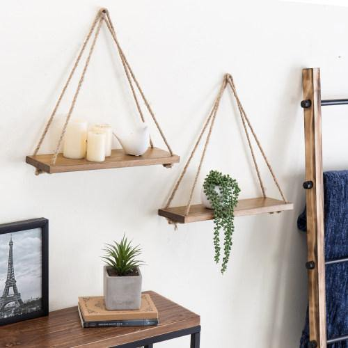 Light Brown Burnt Wood Hanging Rope Shelves, Set of 2