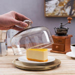7.5 Inch Clear Glass Dessert/Cheese Cloche with Acacia Wood Serving Tray