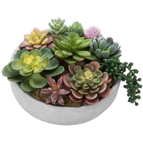 8-Inch Artificial Succulent Plant Arrangement in Concrete Pot-MyGift