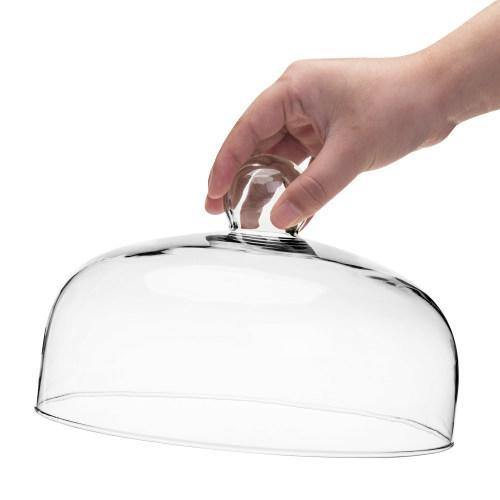 9-Inch Clear Glass Cloche Cake Cover with Knob Handle