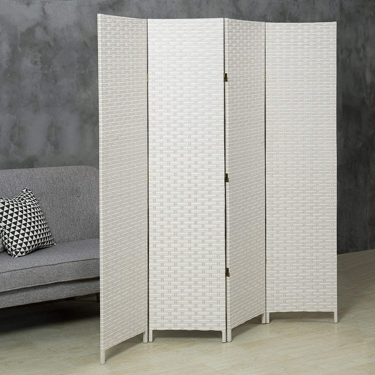 4-Panel Woven Privacy Screen Divider