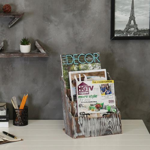Rustic Torched Wood Magazine Rack