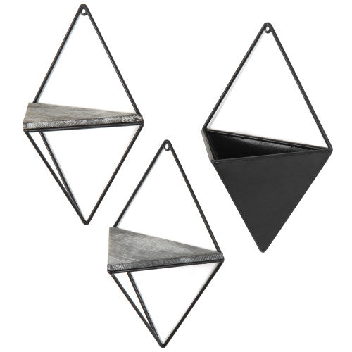 Diamond-Shaped Wall-Mounted Metal Shelves & Planter, 3-Piece Set-MyGift