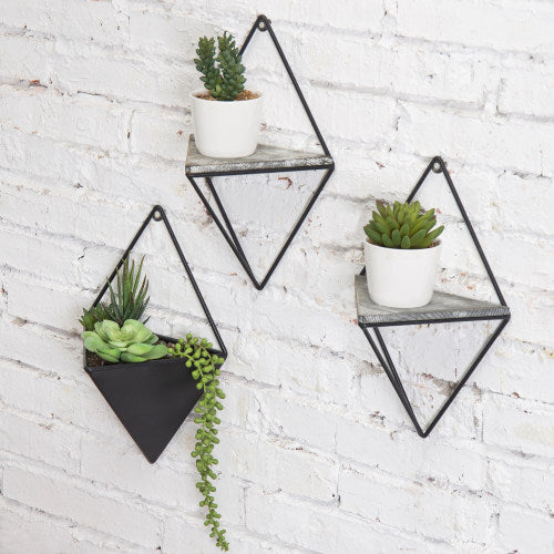 Diamond-Shaped Wall-Mounted Metal Shelves & Planter, 3-Piece Set