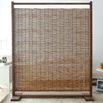 Rustic Wood and Reed Single Panel Room Divider