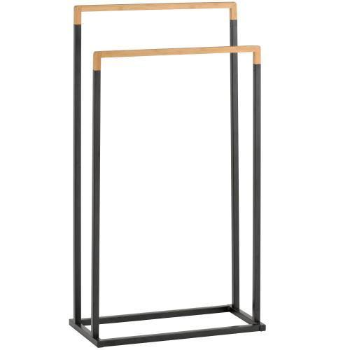 Freestanding 2-Tier Black Metal and Bamboo Towel Rack - MyGift