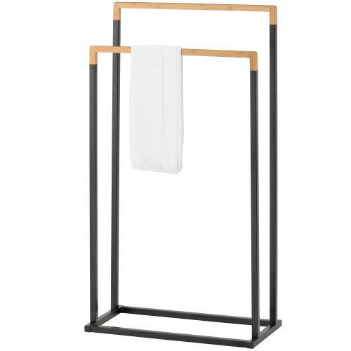 Freestanding 2-Tier Black Metal and Bamboo Towel Rack