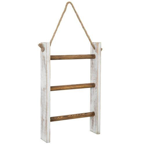 Whitewashed and Burnt Brown Wood Hanging Hand Towel Ladder-MyGift