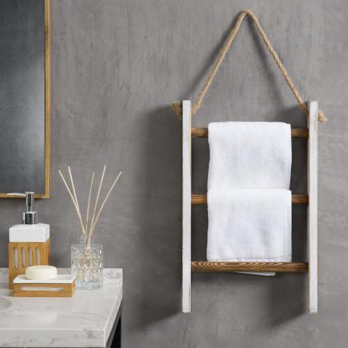 Whitewashed and Burnt Brown Wood Hanging Hand Towel Ladder
