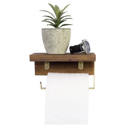 Burnt Dark Brown Wood and Brass Metal Toilet Paper Holder w/ Shelf-MyGift