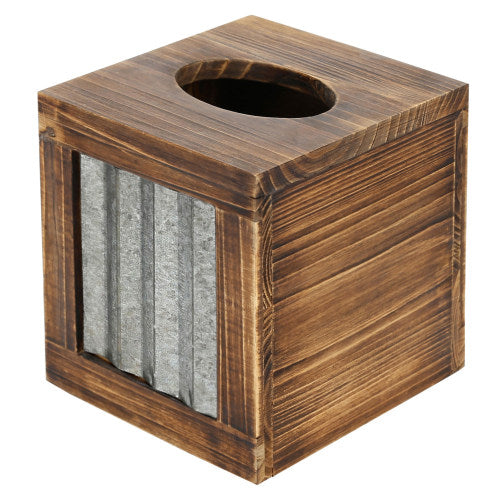 Rustic Burnt Dark Brown Wood and Galvanized Metal Tissue Box Cover-MyGift