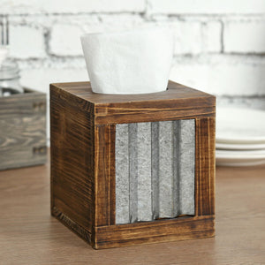Rustic Burnt Dark Brown Wood and Galvanized Metal Tissue Box Cover