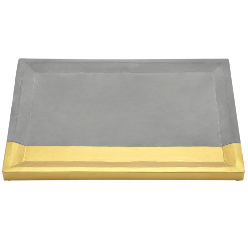Modern Gray Concrete Vanity Tray w/ Gold-Tone Accent