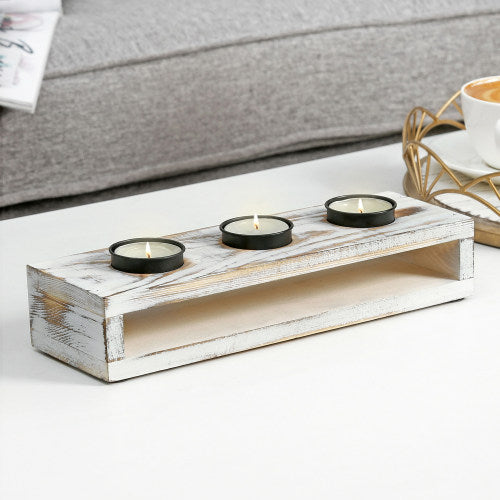 White Washed Wood & Black Metal Tealight Holder Tray