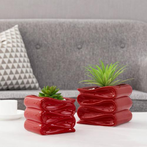 Red Ceramic Planter Pot w/ Folded Design Set of 2, Small and Large - MyGift