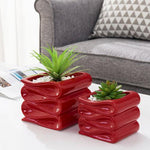 Red Ceramic Planter Pot w/ Folded Design Set of 2, Small and Large