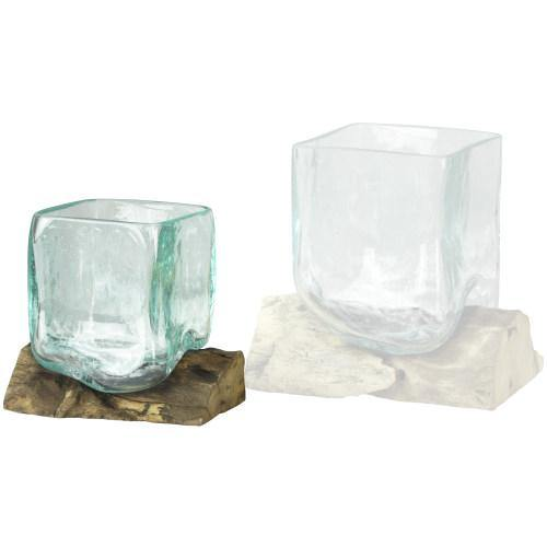Small Natural Driftwood & Square Molten Glass Vase-MyGift