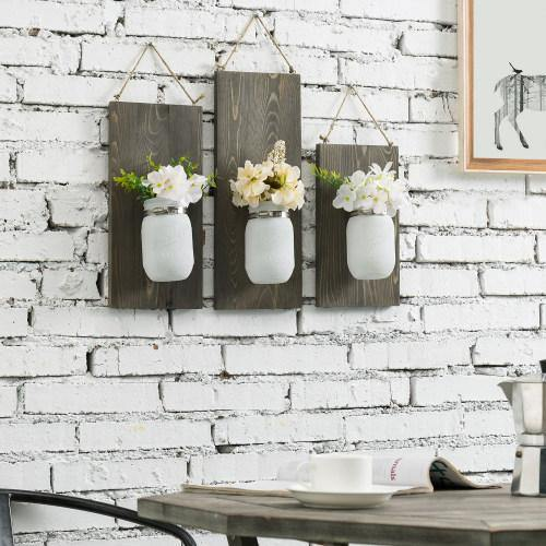 Rustic White Mason Jars & Gray Wood Planter, Set of 3