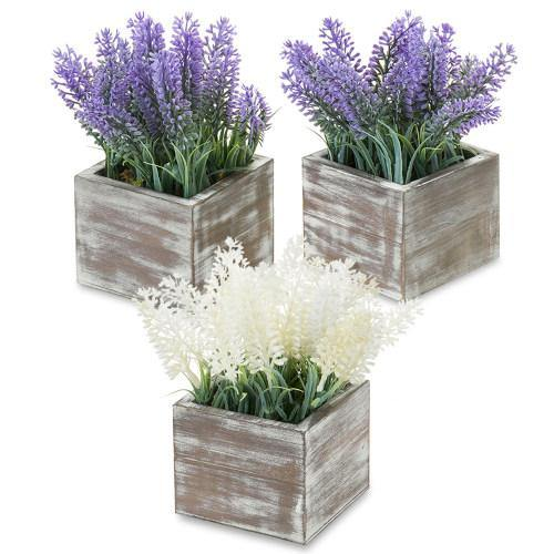 Artificial Lavender in Distressed Brown Wood Planter, Set of 3 - MyGift