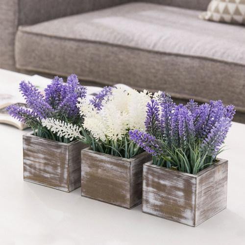 Artificial Lavender in Distressed Brown Wood Planter, Set of 3